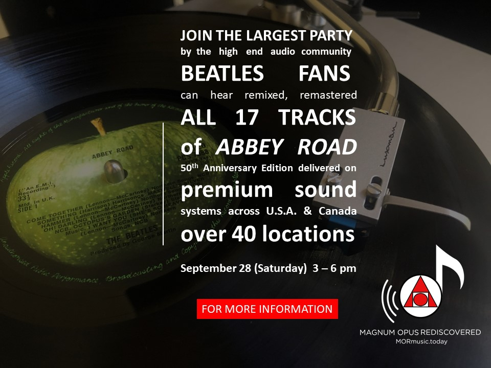 Abbey Road 50th anniversary high end audio party Sept 28th 3 pm to 6 pm